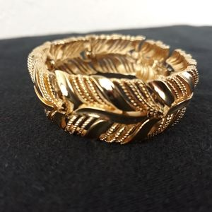 VTG Signed Crown Trafari Gold Tone Cuff Bracelet